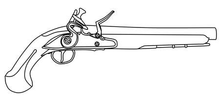 duelling: An of old style flintlock dueling pistol isolated on white.