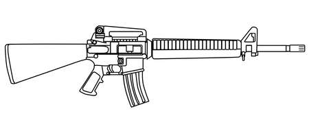 sharpshooter: A typical army style assault weapon isolated on white.