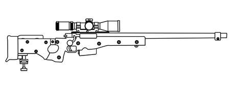 sharpshooter: A modern sniper rifle isolated on white.