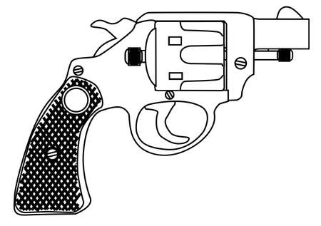 six shooter: A snub nose handgun as used by police forces, isolated over a white bavkground.