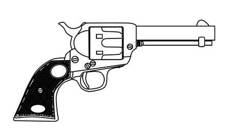 six shooter: A wild west six gun isolated over a white background Illustration