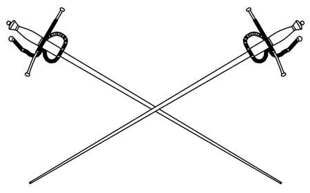fencing foil: A rapier or fencing foil as used in traditional sword duals all isolated on a white background Illustration