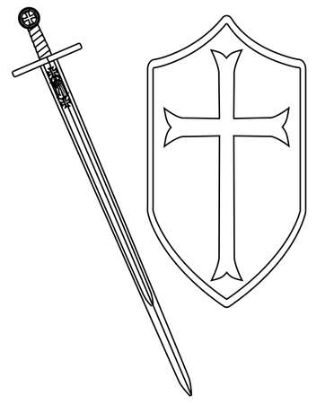 crusader: A sword of the type ised by a crusader around 1100 AD isolated on a white background