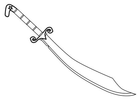 scimitar: A scimitar sword as used by arabian warriors isolated on white