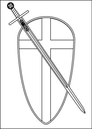 crusader: The traditional sword and shield associated with a crusader isolated on a white background