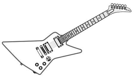 A modern looking electric guitar isolated on a white background