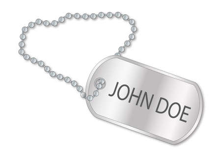 john: A military style dog tags with chain with the text John Doe Illustration