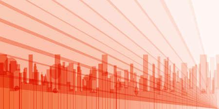 bleak: A grey cityscape shown in orange and silhouette.