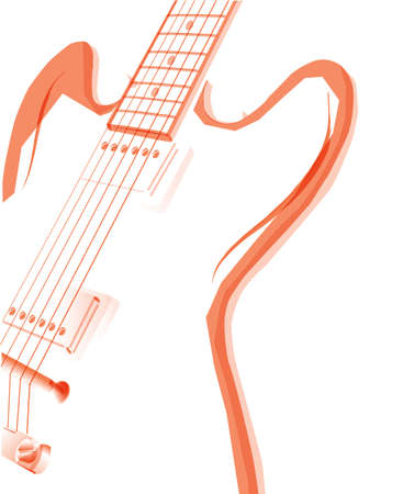 An Abstract Red Electric Guitar Over A White Background