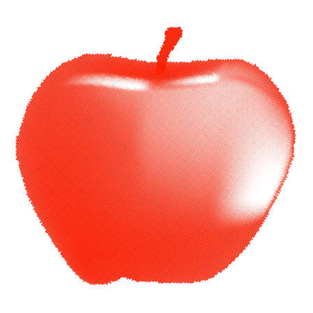 half tone: A juicy red apple in half tone