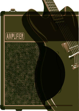 guitar amplifier: A classic electric guitar with a valve amplifier in green