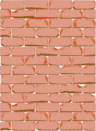 tatty: A red brick wall in halftone with weather damage. Illustration