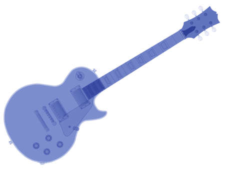 pickups: The definitive rock and roll guitar in blue isolated over a white background. Illustration