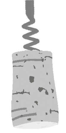cork: A halftone corkscrew blade with cork attached.