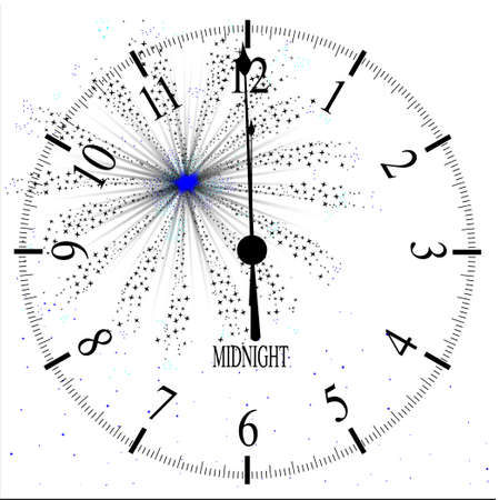 An old English office type clock face over a new year firework Illustration