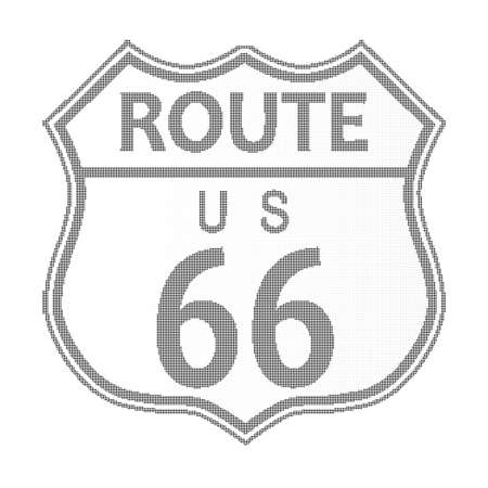 main street: Route 66 traffic sign over a white background and the legend ROUTE US 66 in halftone Illustration