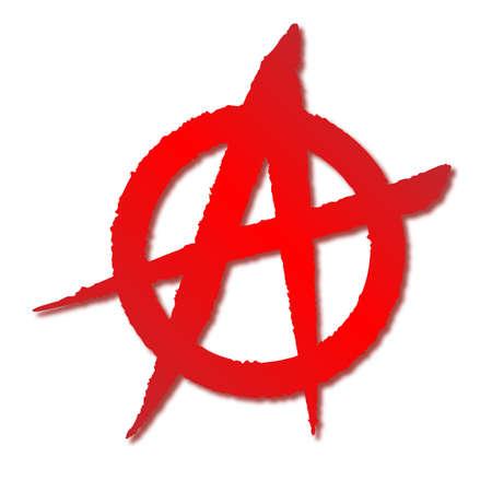 sprayed: A red on white rough sprayed anarchy symbol
