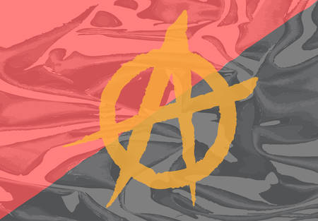 anarchy: The red and black anarchy flag with yellow symbol