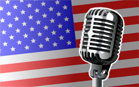 The Stars and Stripes US flag with a traditional style microphone Иллюстрация