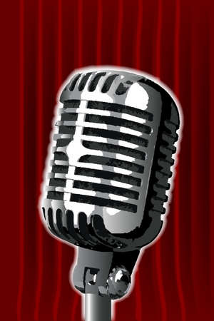 spotlit: A microphone ready on stage against a red curtain. Illustration