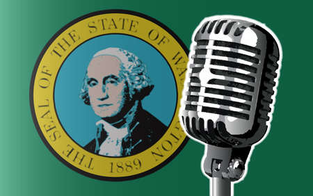 The state of Washington flag with a traditional style microphone