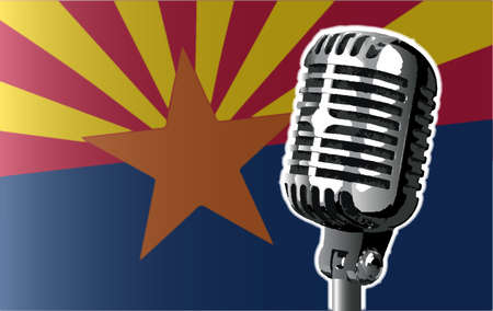 The state of Arizona flag with a traditional style microphone