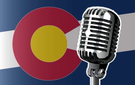 colorado flag: The state of Colorado flag with a traditional style microphone