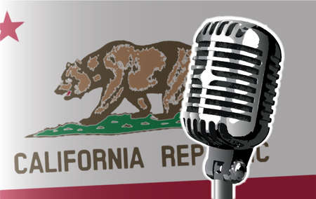 california flag: The state of California flag with a traditional style microphone Illustration
