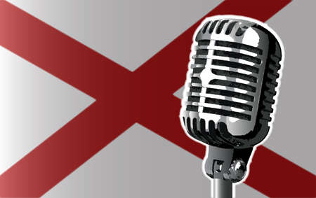 alabama flag: The state of Alabama flag with a traditional style microphone