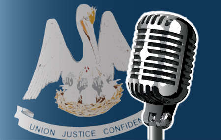 The state of Louisiana flag with a traditional style microphone