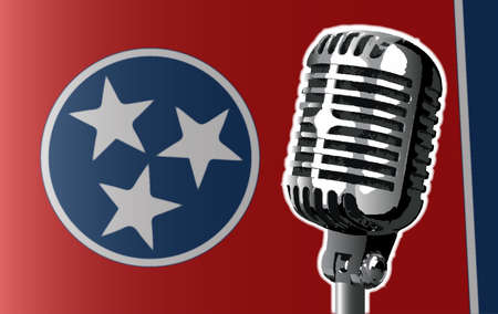 The state of Tennessee flag with a traditional style microphone