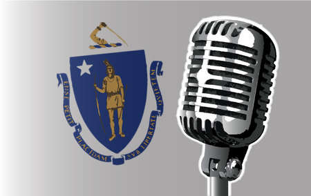 The state of Massachusetts flag with a traditional style microphone