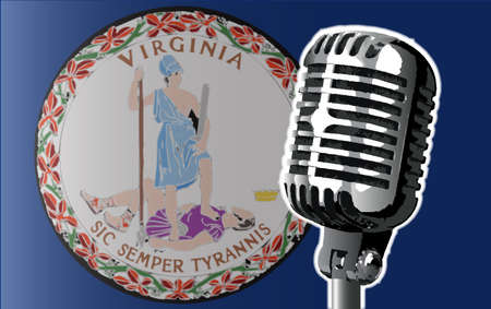 The state of Virginia flag with a traditional style microphone