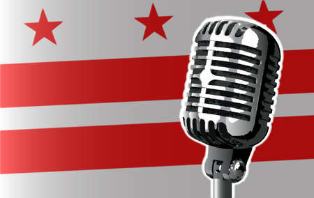 washington dc: The state of Washington DC flag with a traditional style microphone Illustration