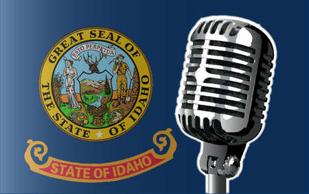 The state of Idaho flag with a traditional style microphone