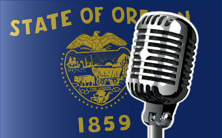 state of oregon: The state of Oregon flag with a traditional style microphone