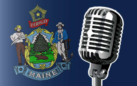 The state of Maine flag with a traditional style microphone