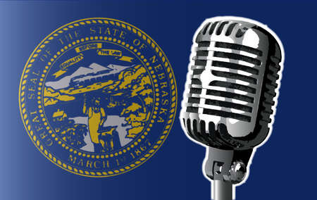 nebraska: The state of Nebraska flag with a traditional style microphone