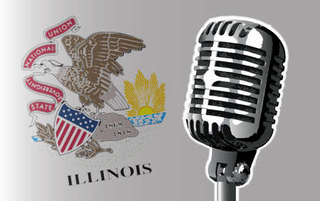 The state of Illinois flag with a traditional style microphone Stock Photo