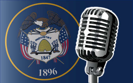utah: The state of Utah flag with a traditional style microphone