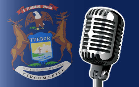 michigan flag: The state of Michigan flag with a traditional style microphone Illustration