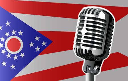 The state of Ohio flag with a traditional style microphone