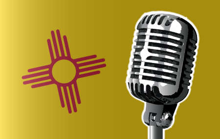 The state of New Mexico flag with a traditional style microphone Illustration