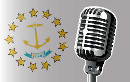 The state of Rhode Island flag with a traditional style microphone