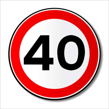 mph: A large round red traffic displaying a forty MPH speed limit