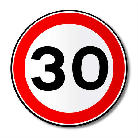 mph: A large round red traffic displaying a thirty MPH speed limit