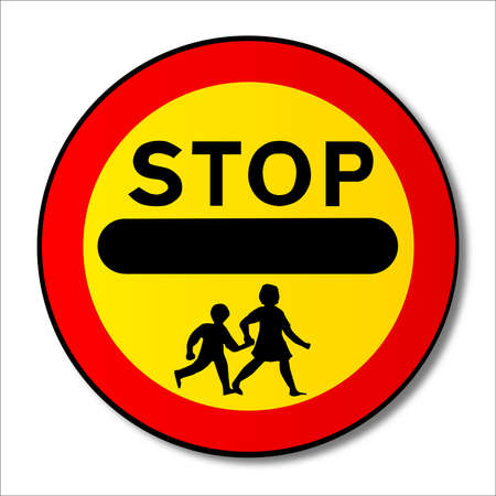 hand held: A large hand held Stop Children sign as used outside school buildings by traffic control monitors or lolipop persons. Illustration