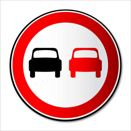 no overtaking: A no overtaing sign over a white background