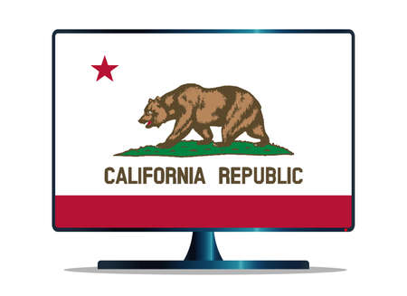 window display: A TV or computer screen with the California state flag