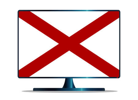 A TV or computer screen with the Alabama state flag